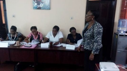 Guest facilitator Mrs Omojola lecturing.