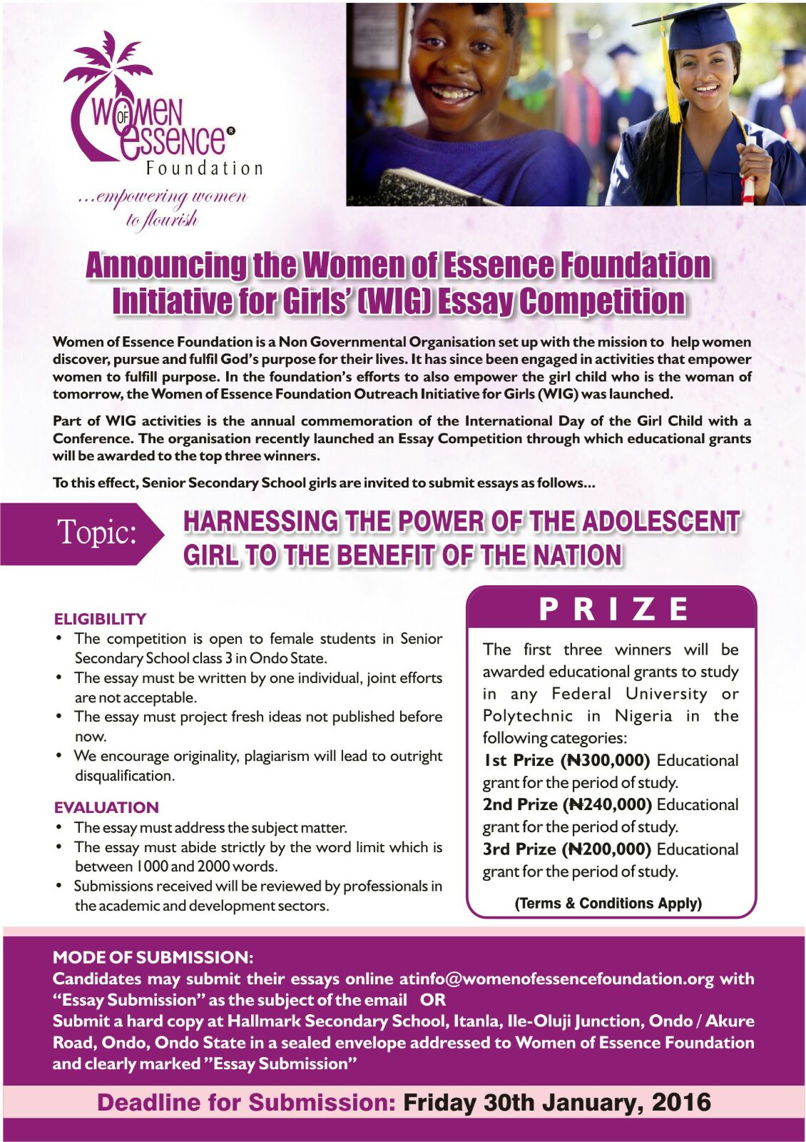 page women of essence foundation essay eflyer